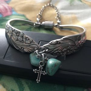 Silver spoon Bracelet with Turquoise Beads/Cross